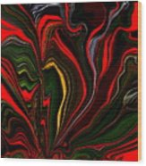 Abstract- Red Flower Garden Wood Print