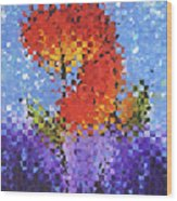 Abstract Red Flowers - Pieces 5 - Sharon Cummings Wood Print
