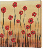 Abstract Red Poppy Field Wood Print