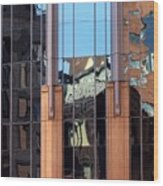 Abstract Reflections In Glass Wood Print