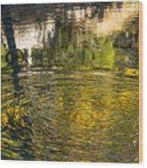 Abstract River Reflection Wood Print