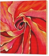Abstract Rosebud Fire Orange Wood Print