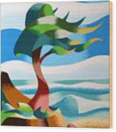 Abstract Rough Futurist Cypress Tree Wood Print
