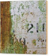 Rust Absract With Stenciled Numbers Wood Print