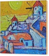 Abstract Santorini Sunset Oia Windmills  Wood Print
