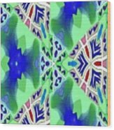 Abstract Seamless Pattern - Blue Green Turquoise Red White Wood Print