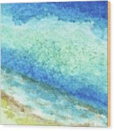 Abstract Seascape Beach Painting A1 Wood Print