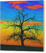 Abstract Single Tree Strong Colors Wood Print