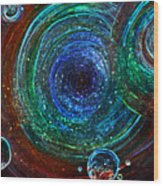 Abstract Space Art. Sparkling Antimatter Wood Print