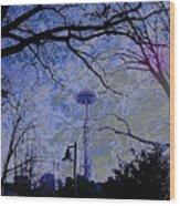 Abstract Space Needle Wood Print