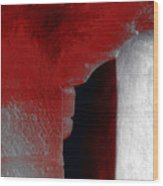 Abstract Square Red Black White Grey Textured Window Alcove 2a Wood Print