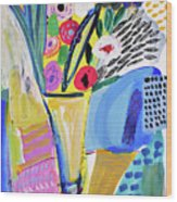 Abstract Still Life With Flowers Wood Print