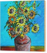 Abstract Sunflowers W/vase Wood Print