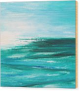 Abstract Sunset In Blue And Green 2 Wood Print
