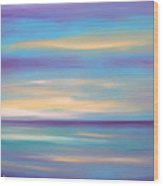 Abstract Sunset In Purple Blue And Yellow Wood Print