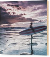 Abstract Surfer Wood Print