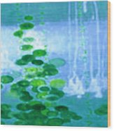 Abstract Symphony In Blue And Green Wood Print