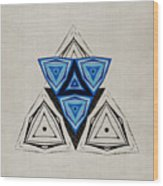 Abstract Triangle Blue Pattern Wood Print