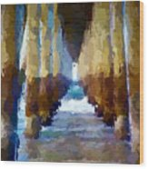 Abstract Under Pier Beach Wood Print