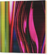 Abstract Verticle Shapes In Green And Red Wood Print