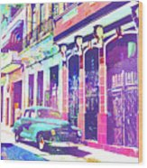 Abstract Watercolor - Havana Cuba Classic Car I Wood Print