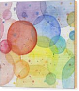 Abstract Watercolor Rainbow Circles Wood Print
