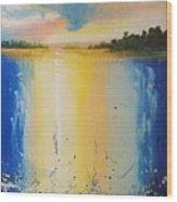 Abstract Waterfall At Sunset Wood Print