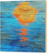 Abstract Watery Sunset Wood Print