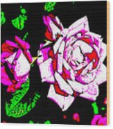 Abstract White Red And Pink Roses Wood Print