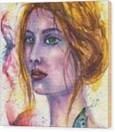 Abstract women face Wood Print