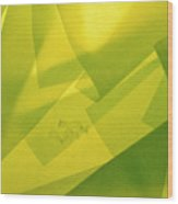 Abstract Yellow And Green With Bottles Wood Print