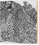 Abstract Zentangle Inspired Design In Black And White Wood Print