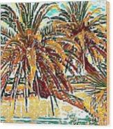Abstracted Loop Palms Wood Print