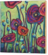 Abstracted Poppies Wood Print