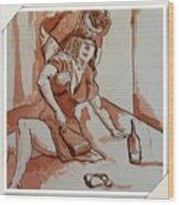Drunken Wife Wood Print