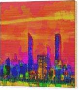 Abu Dhabi Skyline - Da Wood Print