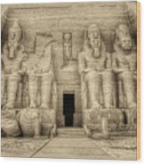Abu Simbel Antiqued Wood Print