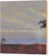 Acacias At Sunset Wood Print