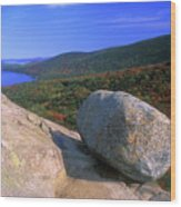 Acadia Bubble Rock Wood Print by John Burk