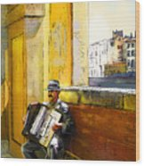 Accordeonist In Florence In Italy Wood Print