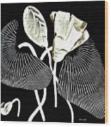 Accordion Leaf Flowers Wood Print