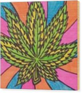 Aceo Cannabis Abstract Leaf  Wood Print