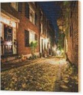 Acorn Street Autumn Boston Mass Painterly Wood Print