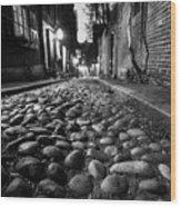 Acorn Street Cobblestone Detail Boston Ma Black And White Wood Print