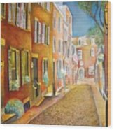 Acorn Street Wood Print