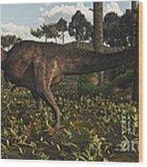 Acrocanthosaurus Dinosaur Roaming Wood Print