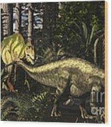 Acrocanthosaurus Hunting Tenontosaurus Wood Print