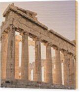 Acropolis Parthenon At Sunset Wood Print