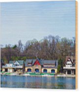 Across From Boathouse Row - Philadelphia Wood Print by Bill Cannon
