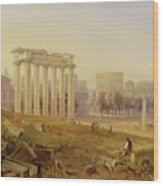 Across The Forum - Rome Wood Print by Hugh William Williams
